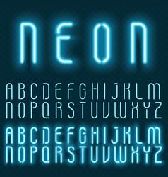 realistic neon alphabet bright glowing vector image