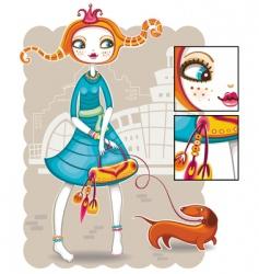 spring shopping girl series vector image vector image