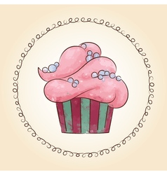 watercolor cupcake with pearls vector image vector image