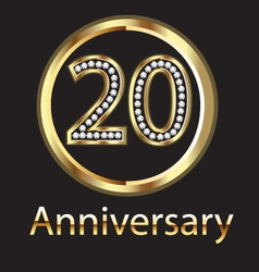 20 anniversary or birthday gold vector image