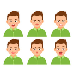 boy face expression set vector image