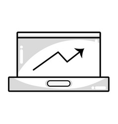 Line technology laptop to business information vector