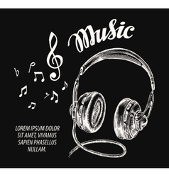 Music Hand drawn headphones vector image vector image