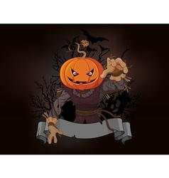 Scarecrow with a pumpkin head vector image vector image