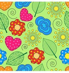 seamless background with swirls leaves flowers vector image vector image