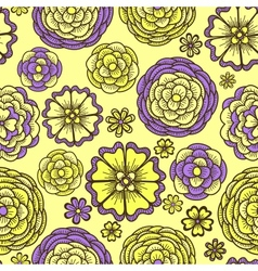 Seamless pattern with doodle flowers vector image vector image