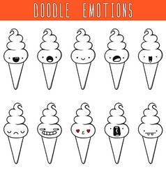 Set of 10 monochrome doodle ice cream with vector image