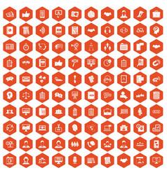 100 discussion icons hexagon orange vector image