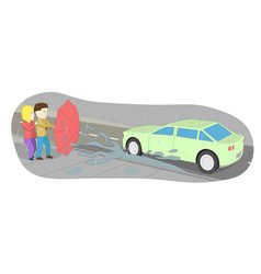 a man protects his girlfriend with an umbrella vector image