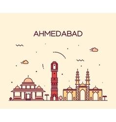 Ahmedabad skyline linear vector