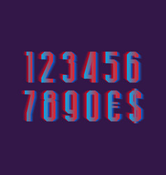 Anaglyph cyan red numbers with currency signs of vector