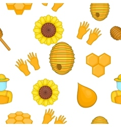 Apiary pattern cartoon style vector