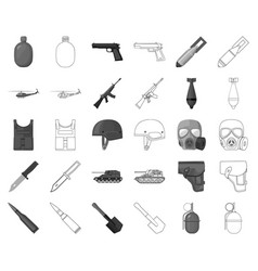 Army and armament monochromeoutline icons in set vector