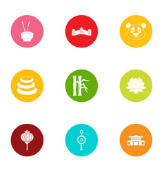 Asia intervention icons set flat style vector