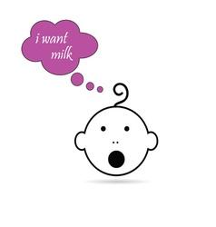 baby head want milk vector image