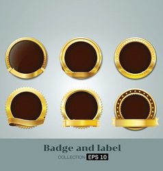 badges and label gold seal set vector image