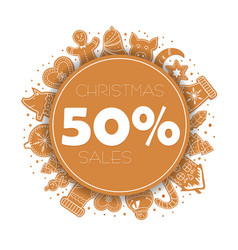 banner christmas sale with gingerbread cookies vector image