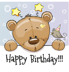 Birthday card with teddy bear vector