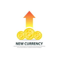 bitcoin new currency with growth logo template vector image