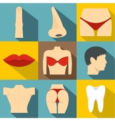 Body icons set flat style vector
