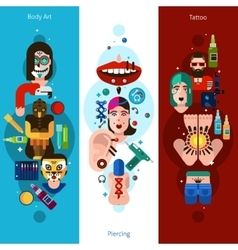 Bodyart Tattoo Piercing Vertical Banners vector