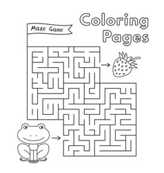 Cartoon frog maze game vector