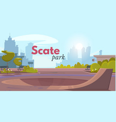Cartoon skate park over city landscape ad poster vector