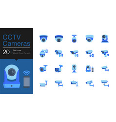 Cctv cameras security camera systems icons flat vector