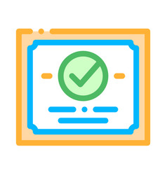certificate diploma with approved mark icon vector image
