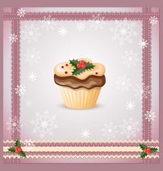 Christmas card with cupcake vector