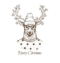 Christmas deer dressed inblouse vector image
