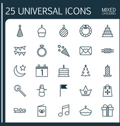 Christmas icons set collection of celebration card vector