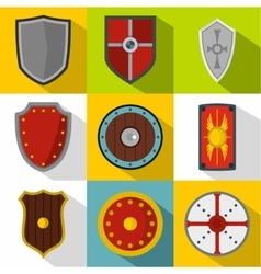 Combat shield icons set flat style vector