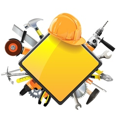 construction sign with tools vector image