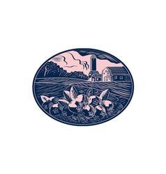 Cranberry Fruit Farm Oval Woodcut vector