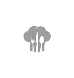 creative chef hat fork spoon knife symbol logo vector image