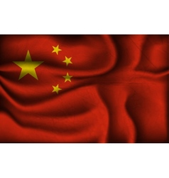 crumpled flag of China on a light background vector image