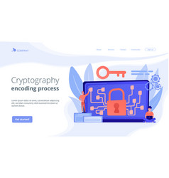Cryptography and encryption concept landing page vector