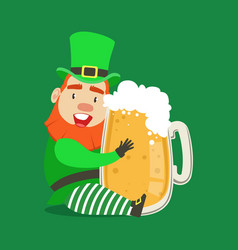 cute cartoon dwarf leprechaun sitting with glass vector image