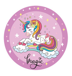 Cute cartoon unicorn circle vector