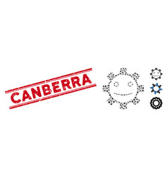Distress canberra line seal and collage gear smile vector