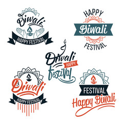 Diwali festival emblems with candles and lotus vector