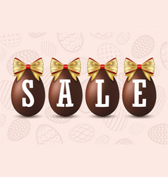 easter egg text sale happy chocolate eggs vector image
