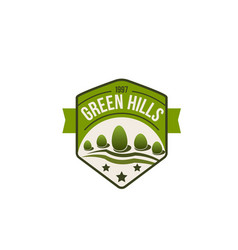 Eco green hills icon forest nature vector