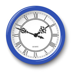 Elegant roman numeral wall clock in blue glossy vector