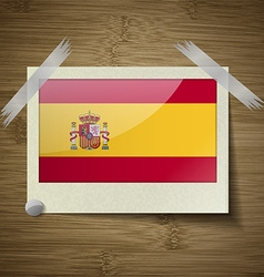 Flags Spain at frame on wooden texture vector image
