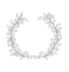 Floral frame branch with leaves wreath decor vector