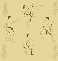 Four men show karate vector