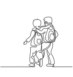 Friends boys going back to school with bags vector