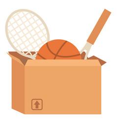 Garage sale or declutter sport equipment in box vector
